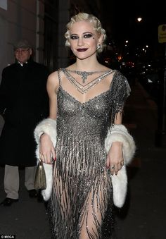 Birthday girl: Pixie Lott stole the spotlight in an art-deco inspired gown for her joint roaring 20s birthday bash at private members club Albert's in London with her brother Stephen on Saturday night