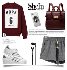 """SheIn - Grey Shorts"" by fashion-bea-16 ❤ liked on Polyvore featuring adidas Originals, Studio Concrete, Skullcandy, Mulberry and Lipsy"