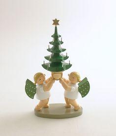 Angel Figurine Christmas Tree Decoration Wendt Kuhn Wood Germany Erzgebirge #WendtKuhn