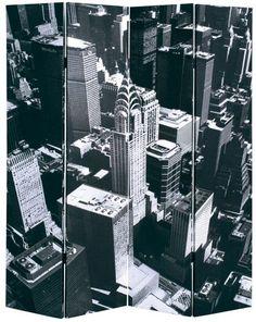 New York Skyline Decorative Room Divider Screen Decorative Room Dividers, Decorative Screens, Room Divider Screen, Shops, Willis Tower, New York Skyline, Building, Frame, Entry Ways