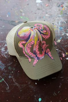 f3265d8a45b Hand Painted Octopus Trucker Hat Drawing Hats