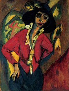 Collection Online | Ernst Ludwig Kirchner. Gerda, Half-Length Portrait (Frauenkopf, Gerda). 1914 - Guggenheim Museum