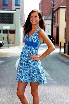 Floral Print Halter Dress #May23Online $36.00