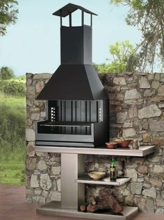 Find out all of the information about the ROCAL product: wood-burning barbecue / free-standing / metal PALMA 75 GARDEN. Patio Kitchen, Diy Outdoor Kitchen, Outdoor Oven, Summer Kitchen, Outdoor Fire, Outdoor Cooking, Outdoor Living, Outdoor Decor, Design Barbecue