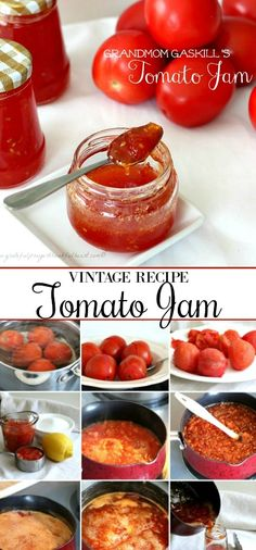 Grandmom Gaskills Tomato Jam Grateful Prayer - Vintage Recipe For Grandmoms Tomato Jam Is Made Using Just Tomatoes Sugar And Lemon Or Lime Juice Delicious On Toast Or Biscuits And On A Cheese Board Perfect Use For Garden Fresh Tomatoes An Jelly Recipes, Jam Recipes, Canning Recipes, Great Recipes, Favorite Recipes, Juice Recipes, Recipies, Drink Recipes, Tomato Jelly