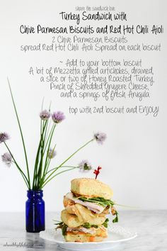 Turkey Sandwich with Chive Parmesan Biscuits - A Healthy Life For Me #makethatsandwich