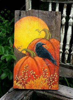 Your place to buy and sell all things handmade Hand painted Fall Autumn Folk Art Reclaimed Wood Fall Canvas Painting, Autumn Painting, Autumn Art, Tole Painting, Canvas Art, Fall Paintings, Pumpkin Painting, Sign Painting, Halloween Painting