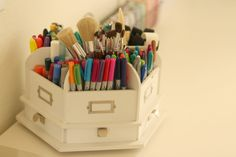 Craft Room pens and small supply storage