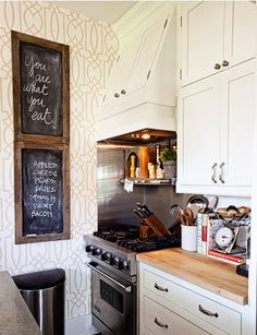 fun way to spice up our little kitchen - wallpaper accent Cozy Kitchen, Kitchen Decor, Kitchen Dining, Kitchen Cabinets, White Cabinets, Kitchen Ideas, Kitchen Corner, Corner Stove, Kitchen Brick