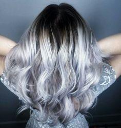 Silver gray white blonde balayage stretched root by Ashton @ Splat Hair Design