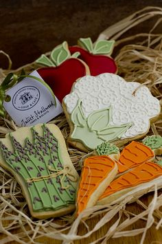Vegetable cookies : Beautifully hand Iced biscuits | Juliet Stallwood Cakes & Biscuits