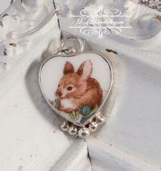 Bunny Broken China Jewelry Petite Charm