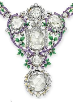 A BELLE ÉPOQUE DIAMOND AND ENAMEL NECKLACE (detail), BY PAULDING FARNHAM, TIFFANY & CO. Designed as an openwork enamel foliate plaque, set with rose-cut diamonds and enhanced with collet-set circular-cut diamonds, to the foliate link neck chain, set with collet-set old European-cut diamonds, circa 1900. Necklace signed Tiffany & Co., by Paulding Farnham.