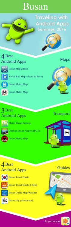Busan Android apps: Travel Guides, Maps, Transportation, Biking, Museums, Parking, Sport and apps for Students.