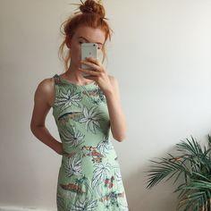 d9da750e8a1 Lovely long mint green vintage dress with palm tree print all over it.  Super duper. Depop