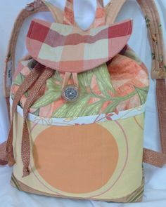 Quilted Backpack in Orange tones by MarthaDanielsonSews on Etsy, $45.00