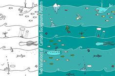 Underwater Seamless Pattern Cartoon by Popmarleo Shop on @creativemarket