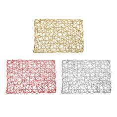Set of 4 Holiday Decorative Rectangle Woven Metallic Foil Shining Placemats, Chargers - Gold, Red, Silver Kitchen Tools, Kitchen Gadgets, Kitchen Decor, Kitchen Ideas, Kitchen Design, Modern Coasters, Modern Placemats, Womens Fashion Online, Latest Fashion For Women