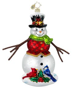 Christopher Radko Winter Gathering Snowman Ornament *** Visit the image link more details. (This is an affiliate link) Radko Christmas Ornaments, Snowman Ornaments, Merry Christmas And Happy New Year, Christmas Snowman, All Things Christmas, Christmas Decorations, Vintage Decorations, Ornament Tree, Christmas Figurines