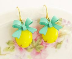 Vintage Bright Yellow Jewel and Turquoise Bow by silverliningdecor, $18.00