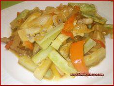 Salteado de calabacines y panceta iberica. Lambruchona.com