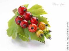 Купить Заколка-зажим с красной смородиной - ярко-красный, ягоды, Ягодки, ягода, красны, зеленый