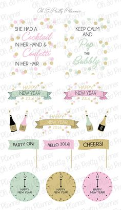These New Years Eve themed stickers are the perfect complement to help you decorate your planner!  All stickers are original designs created by