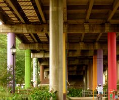 Surprises await around every corner (and even under this downtown bridge located at the Children's Garden at Linky Stone Park.)