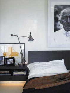 Bedside table, dark headboard