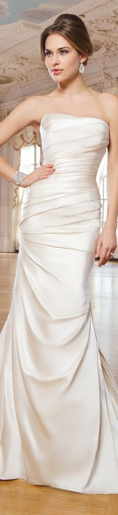 Lillian West style 6275   Satin mermaid wedding dress accentuated with a strapless neckline