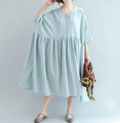 Women Loose fitting Long Light blue dress/ Long Maxi Dress/