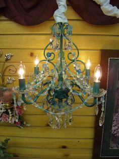Caribbean Blue Chandelier by leeannpayne on Etsy, $275.00