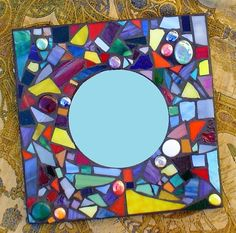 Stained Glass Mosaic x Confetti Mirror: Rainbow Spectrum Mirror Mosaic, Mosaic Diy, Mirror Art, Mosaic Glass, Mosaic Tiles, Stained Glass Patterns, Stained Glass Art, Mirrored Picture Frames, Mosaic Pictures