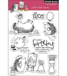 "Penny Black Clear Stamps 7.5""X5"" Sheet-Paint The Town"