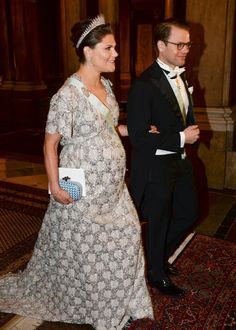 The King and the Queen held an official gala dinner at Swedish Royal Palace.   Prinses Victoria en Prins Daniël.  3-2-2016