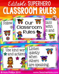 Superhero Classroom Rules, Superhero Classroom Decorations, Classroom Rules Poster, Classroom Themes, Superhero School Theme, Classroom Projects, Preschool Classroom, Future Classroom, Classroom Activities