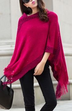 Gorgeous Color paired with Black! Rose Carmine Chic 3/4 Sleeve Asymmetrical Fringed Women's Sweater #Rose #Carmine #Fringe #Knit #Poncho #Sweater #Fall #Fashion #Color #Trends #Easy #Affordable #Outfit #Ideas