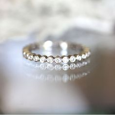 Bezel Set White Diamond Eternity Band in 14K Gold by louisagallery, $750.00
