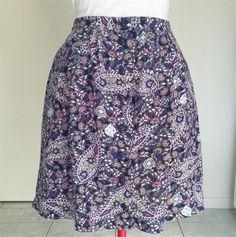 boho paisley retro print ladies button front skirt Summer boho 1970s' size 10-12