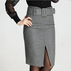 fashion autumn winter style 2016 plus size high waist saias femininas casual midi Wool pencil skirt women skirts female – outfits Pencil Skirt Casual, Pencil Skirt Outfits, Denim Pencil Skirt, High Waisted Pencil Skirt, Dress Outfits, Fashion Dresses, Pencil Skirts, Denim Skirt, Waist Skirt