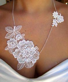 DIY Embellished White Lace Necklace