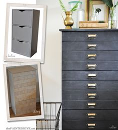 Basic Flat Pack Easily Transformed into Budget-Friendly Faux Card Catalogue Drawers | The Painted Hive