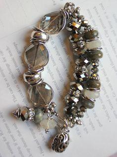 chunky charm bracelet grey bracelet labradorite by molliecarey