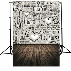 5x7FT Vinyl Valentine's Day Wooden Floor Heart Love Photography Background Photo Backdrop