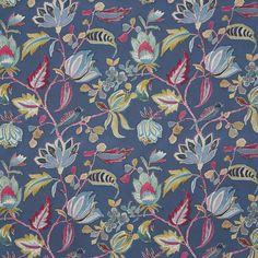 #prestigioustextiles #harlow #blue #navy #azalea #floral #flower #embroidery #prints #fabrics #summer Textile Design, Fabric Design, Curtain Fabric, Curtains, Prestigious Textiles, English House, Navy Fabric, Summer Garden, Spring Summer