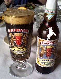 Ayinger Celebrator Doppelbock. Rich with strong tones of dark chocolate.