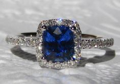 Ceylon Cornflower Blue Sapphire in White Gold by JuliaBJewelry, $1,195.00