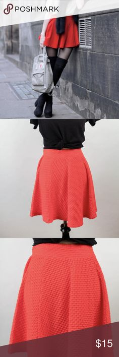 H&M divided red orange skater skirt zip textured H&M New with tags skater skirt size 8. Retailed at $25.  Width 15.5 inches Length 17.5 inches H&M Skirts Circle & Skater