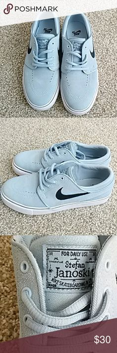 Baby Blue Nike Shoes These are baby blue Stefan Janoski (Nike). They are a 6 1/2 women and 4 1/2 boys. They have only been worn once. Nike Shoes Sneakers