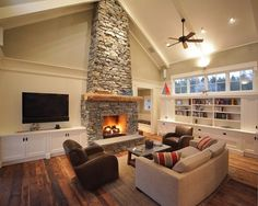 Tv mounted next to stone fireplace. ideas if house has fireplace and can't mount above it